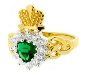 Vintage Gold Plated Claddagh Ring Emerald Colour Stone 9901